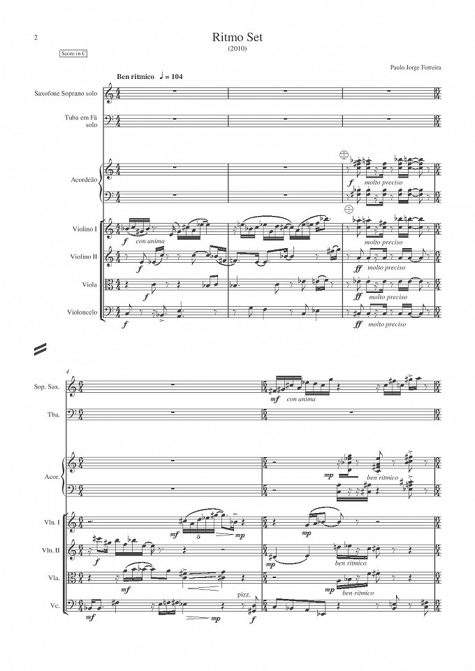 Ritmo Set - Saxofone soprano solo, Tuba em Fá solo, Acordeão e Quarteto de cordas